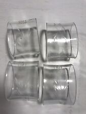 New listing Napkin Rings Set of 4 White Flower Etched Clear Glass Holder Kitchen Table Wear