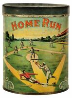 HOME RUN TOBACCO BASEBALL CAN SHAPED HEAVY DUTY USA MADE METAL ADVERTISING SIGN