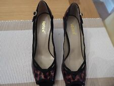 "Lotus 3.5"" Heel peep toe Court shoe UK Size 6 + matching clutch purse"