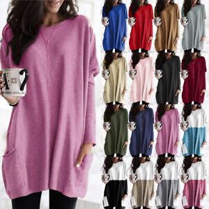 UK Womens Tee Shirt Blouse Loose Sweatshirt Mini Dress Ladies Long Sleeve Tops