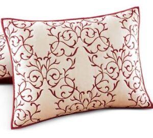 "ONE Martha Stewart Bedding Chateau 100% Cotton STANDARD Sham 20"" x 28"" Red NEW"