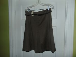 Ann Taylor Loft Size 6 Brown Tweed Print Knee Length with Belt  Flare