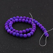"""Dyed Volcanic Lava Rock Gemstone Beads Natural Round Loose 8mm 15.5"""" Strand"""