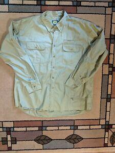 Cabelas Men Long Sleeve Button Down Fishing Shirt Khaki Green Size 2XL Tall EUC!