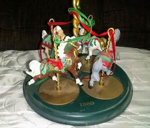 1989 Vintage Hallmark Set Of 4 Carousel Horses & Display Stand