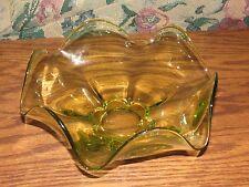 Yellow Glass Serving Bowl Wavy Scalloped Edge, Polished Bottom