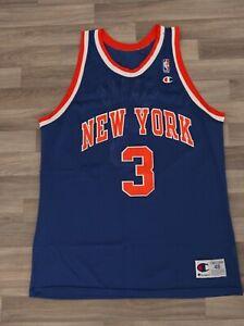 Rare Vintage New York Knicks John Starks #3 Blue Champion Jersey  Size 48