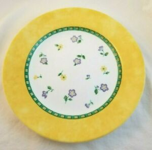 "Corningware  8.5"" Lunch Plate Yellow Green Flowers Floral ""Classical Garden"""