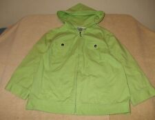 Christopher & Banks Size M Zip Front Light Green Hooded Jacket, 3/4 sleeves