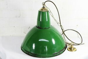 Ceiling Light 50s British Industrial Green Enamel Factory Lamp Metal Light