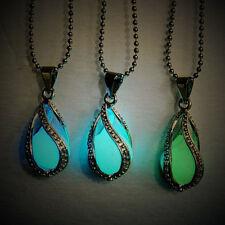 Lady Luminous Pearl The Little Mermaid's Teardrop Glow in Dark Pendant Necklace