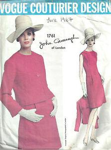 1967 Vintage Vogue Couture Motif B38 Robe & Veste (1630) par John Cavanagh