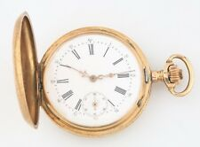 Antique Remontoir 14k Solid Gold 15-Jewel Pocket Watch Size 18 Double Hunter