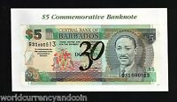 BARBADOS 5  DOLLAR 2002 P-65 A COMMEMORATIVE 30 UN RECORD FRIGATE UNC + FOLDER