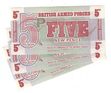 British Armed Forces UK 6th Ser. 1972 Lot Set of 3 Notes: 5 New Pence UNC Crisp