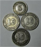Straights Settlements Silver 3x10 Cent, 1x5Cent - KM# 21a, 29, 29a, 36
