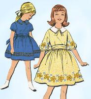 1960s Vintage Advance Sewing Pattern 2961 Sew Easy Little Girls Dress Size 8 26B
