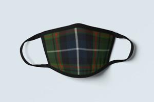 Clan MacRae Hunting Tartan Face Mask Scottish Family Plaid Green Covering Mask