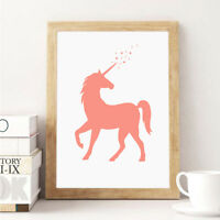Unicorn Cartoon Wall Art Canvas Posters Prints Decorative Picture for Kids Room
