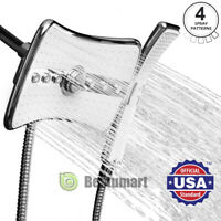 4 Setting Multi-Function Waterfall Rainfall ABS Chrome Shower Head Wand Combo A