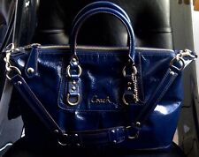 COACH Ashley Patent Leather Satchel Handbag Convertible Purse F15455 Blue $298
