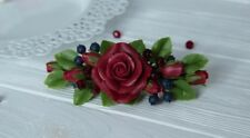 Flower rose Hair Barrette HANDCRAFTED Fashion polymer clay jewelry HANDMADE