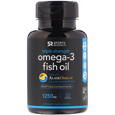 Sports Research, Omega-3 Fish Oil, Triple Strength, Triglyceride Form, 1250 mg,