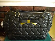BETSEY JOHNSON BLACK SATCHEL BAG WITH BOW & HEARTS