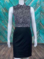 41 Hawthorn Stitch Fix Womens Sheath Dress Small Black White Sleeveless Side Zip