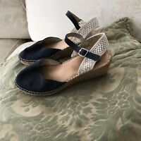 Dark Blue Espadrilles Wedges Raffia Slingback Sandals 9
