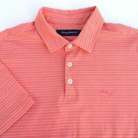 Tommy Bahama Mens Size Large Orange Short Sleeve Polo Shirt Pima Cotton