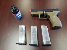 Refurbished Walther Black/Tan PPQ airsoft spring pistol kit with mags and bbs!