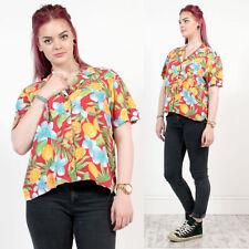 Femme vintage rétro orange fruits tropicaux à motifs imprimé rockabilly chemise 18