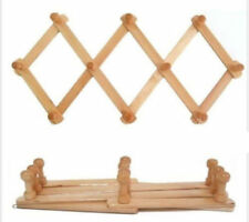 Wooden Wall Hanger Expandable 10 Peg Coat Rack Hat Closet Hook Expanding Fold