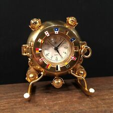 Vintage Clock Bey Berk International Brass Nautical Ship Flags PRIORITY MAIL