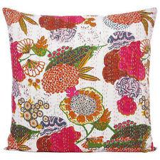 24x24 Large White Kantha Pillow Cover, Kantha throw Pillow, Floral cushion
