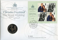GB 2018 FDC Prince Harry & Meghan Wedding 4v M/S £5 Coin Cover Royalty Stamps