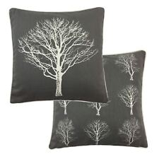 """FILLED FOREST TREES GREY WHITE 100% COTTON PIPED CUSHION 17"""" - 43CM"""