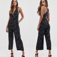 ASOS Women's Parallel Lines Abstract Jumpsuit Size XS Black White Sleeveless NWT