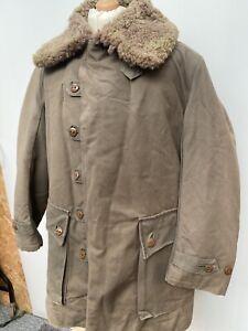 1940s Swedish Military Sheepskin Parka WW2 Field Coat Army Jacket Size No.2 M-L