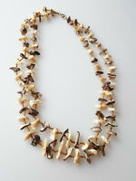 Vintage necklace double-strand shell pieces and seed bead necklace brown 1960s