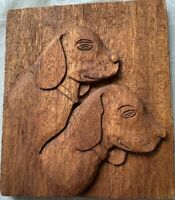 Vintage Wood Carved Two Dogs Plaque Folk Art W/ Stand 3D Rustic Cabin Primitive.