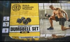 Golds Gym 40 lb Adjustable Cast Iron Dumbbell Set Weightlifting Weights NEW