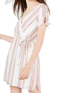 City Studio Dress Beige Size XL Junior A-Line Metallic Stripe Faux Wrap $59 #384