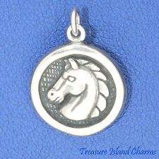 Horse Head Medallion Round .925 Solid Sterling Silver Charm Pendant MADE IN USA