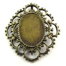 30169 Antiqued Bronze Tone Alloy Oval Cameo Setting 25*18mm Pendant Charm 12PCS