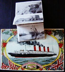 Vintage 1800s Postcard HANDS ACROSS THE SEA  Pull Out photo's of Southampton