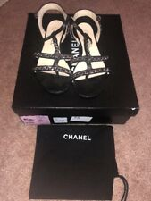 Chanel Black Leather Silver Chain Sandals 37.5 Us 7 7.5 Gladiator Flat