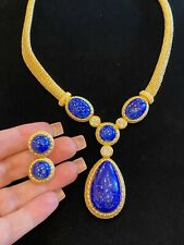 Vintage Christian Dior Gold Plated Lapis Lazuli Necklace and Earrings Set