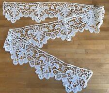 """Antique Brussels bobbin lace Trim ~ White ~ Length 61"""" / 155cm"""